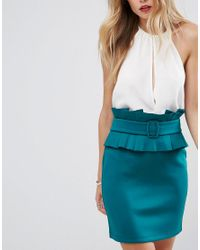 ASOS - Blue Mini Scuba Skirt With 80s Belt Detail - Lyst
