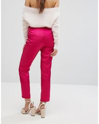 Fashion Union - Pink Cigarette Pants In Luxe Fabric - Lyst