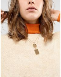 ASOS - Metallic Vintage Style Square Pendant And Coin Multirow Necklace - Lyst