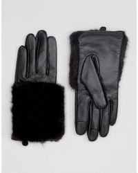 ASOS | Black Leather & Faux Fur Mix Gloves With Touch Screen | Lyst