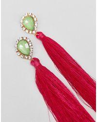 ASOS - Metallic Statement Jewel Stone And Tassel Earrings - Lyst
