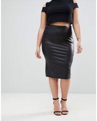 ASOS - Black Asos Design Curve Leather Look Pencil Skirt - Lyst