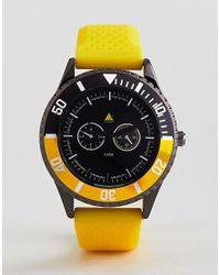 ASOS - Oversized Rubberised Watch In Yellow With Black Contrast Bezel for Men - Lyst