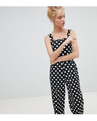 a2710a71a47 Lyst - Daisy Street Cropped Jumpsuit In Polka Dot in Black