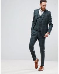 ASOS Green Skinny Suit Trousers In Khaki Country Check for men