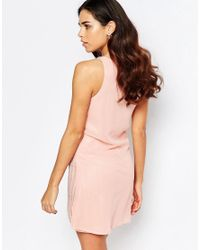 A Star Is Born - Natural Pleated Skater Dress With Embellished Detail - Rose - Lyst