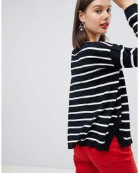 Esprit - Blue Stripe Oversized Round Neck Lightweight Sweater - Lyst