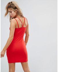 ASOS - Red Mini Double Strap Bodycon Dress - Lyst