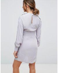 ASOS - Gray Nursing Tie Waist Mini Dress With Popper Detail - Lyst