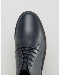 ASOS - Blue Lace Up Boots In Navy Leather With Ripple Sole - Navy for Men - Lyst
