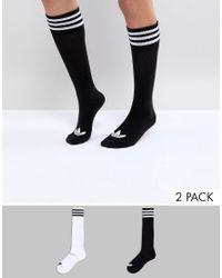Adidas Originals - Multicolor Originals 2 Pack Knee High Socks for Men - Lyst