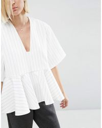 ASOS - White Stripe Peplum Top With V-neck - Lyst