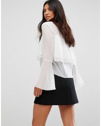 Girl In Mind - White Polka Frill Top - Lyst