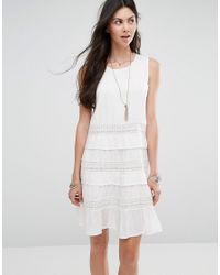 Diya Tiered Dress With Crochet Inserts in White - Lyst