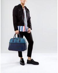 Pretty Green - Blue Faux Leather Logo Gym Bag for Men - Lyst