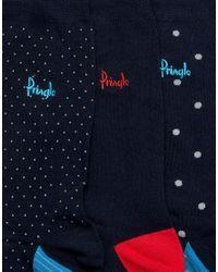 Pringle of Scotland - Blue Johnstone Socks 3 Pack for Men - Lyst