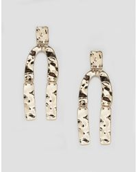 Monki - Metallic Hammered Horse Shoe Earrings - Lyst