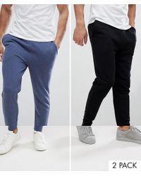 ASOS - Multicolor Skinny Joggers 2 Pack Denim Marl/black Save for Men - Lyst