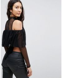 TFNC London - Black Tulle Mesh Top With Tie Back - Lyst