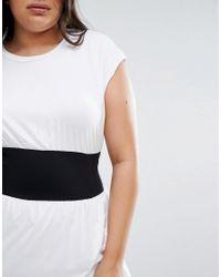 ASOS - White Corset Waist Detail Midi T-shirt Dress - Lyst