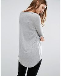 ASOS - Gray The New Forever T-shirt With Long Sleeves And Dip Back - Lyst