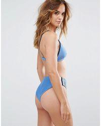 RVCA - Blue Rcva Throwback Cheeky Bikini Bottom - Lyst