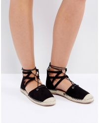 Truffle Collection - Black Glitter Lace Up Espadrille - Lyst