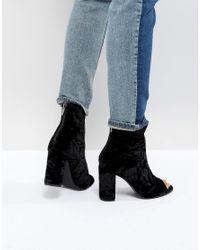 New Look - Black Velvet Peep Toe Block Heel Shoe Boot - Lyst