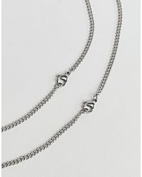 Seven London - Metallic Silver Cross Dog Tag & Chain Necklace In 2 Pack Exclusive To Asos for Men - Lyst