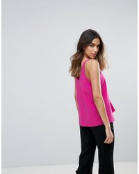 River Island - Pink Tailored Ruffle Front Cami Top - Lyst