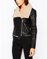 ASOS | Black Biker Jacket With Borg Waterfall | Lyst