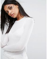 AllSaints - White Bea T-shirt With Long Sleeves - Lyst