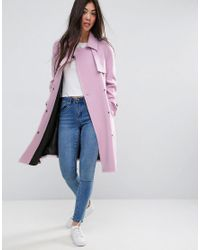 ASOS - Pink Bonded Trench With Contrast Trims - Lyst