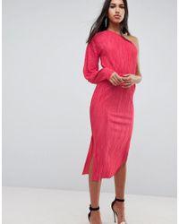 10f17f14a2c Robe mi-longue asymtrique plisse manches ballon femme de coloris rose
