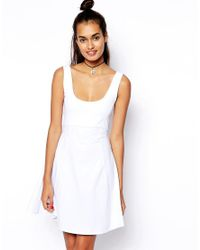 ASOS - Blue 90s Skater Dress with Seam Detail - Lyst