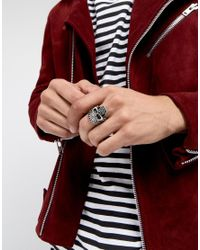 Reclaimed (vintage) - Metallic Inspired Chunky Skull Ring Exclusive To Asos for Men - Lyst
