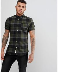 65098fa33 River Island Muscle Fit Check Shirt In Khaki in Green for Men - Lyst