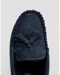 Dunlop - Blue Tassel Slippers In Navy Suede for Men - Lyst