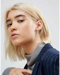 ASOS - Metallic Sterling Silver Bar & Ball Stud Earrings - Lyst