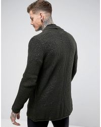 ASOS | Green Mesh Waterfall Cardigan In Khaki for Men | Lyst