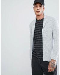 e10acc8adae Bershka Open Cardigan In Light Gray in Gray for Men - Lyst