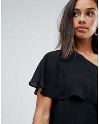ASOS - Black One Shoulder Tiered Top - Lyst