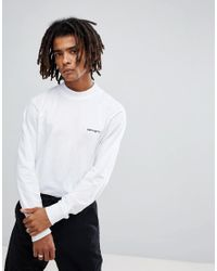 c19ea2710 Lyst - Carhartt WIP Long Sleeve High Neck Script T-shirt In White in ...