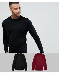 ASOS - Asos 2 Pack Cotton Jumper In Black/burgundy Save for Men - Lyst