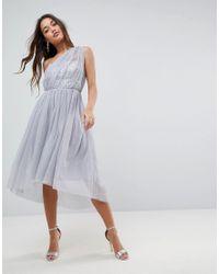 ASOS - Gray Asos Premium Crystal Bodice Tulle One Shoulder Midi Prom Dress - Lyst