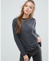 ASOS - Gray T-shirt With Long Sleeves And Split Back - Lyst