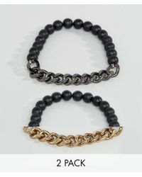 ASOS | Multicolor Bracelet Pack In Mixed Metal Finish for Men | Lyst