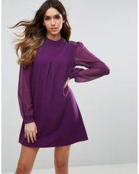Traffic People - Purple Long Sleeve Shift Dress - Lyst