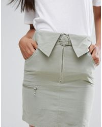ASOS - Green Utility Mini Skirt With Circle Trim Belt - Lyst
