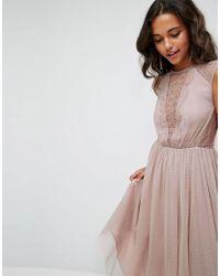 ASOS - Pink Lace Tulle Cap Sleeve Midi Dress - Lyst